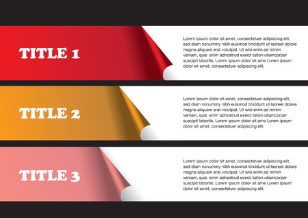 page layout: 3 numbered strips of peel off stickers with white space for text copy. Abstract vector background isolated on black background as template for page layout design. Illustration