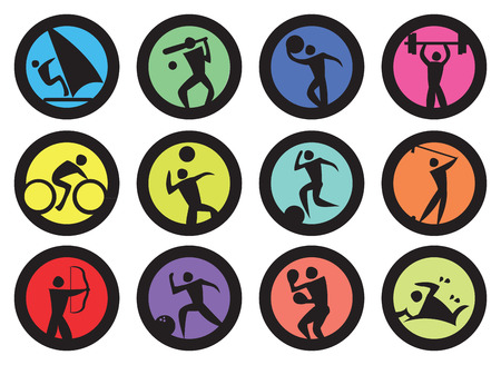 Round badges with people doing sports and recreation activities design. Vector icons isolated on white background.