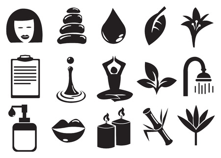 revitalize: Black and white isolated vector icons related to beauty, spa, relaxation and meditation. Illustration