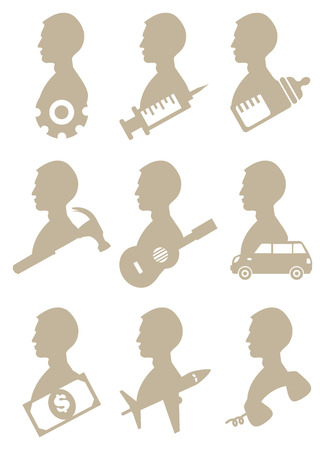 iconography: Vector illustration of Silhouettes of Man in Profile  view with Icon Symbols isolated on white background Illustration