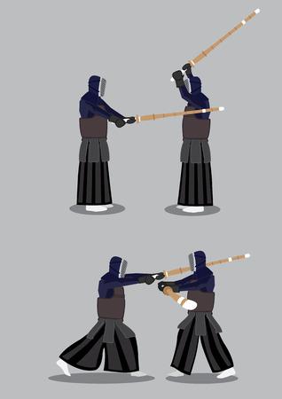 deportes caricatura: Practicantes de Kendo de sparring en acci�n. Dos conjunto de ilustraci�n vectorial aislado sobre fondo gris.