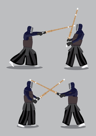 kendo: Vector illustration of two characters wearing black protective clothing and mask in Kendo training.