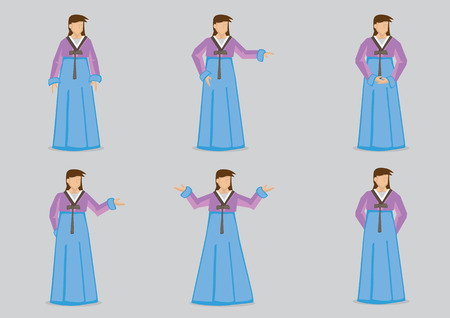 hanbok: Set of six vector illustration of female characters wearing Hanbok, traditional costume of Korean woman, isolated on grey background.