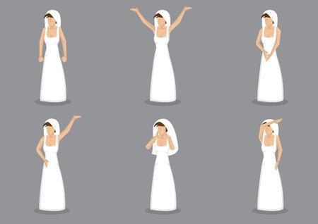 baile caricatura: Conjunto de seis ilustraci�n vectorial de la novia en vestido blanco largo sencilla de novia y velo. Personaje en diferentes gestos y posturas aisladas sobre fondo gris.