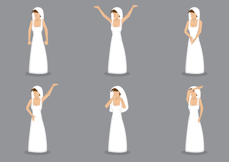 veil: Set of six vector illustration of bride in simple long white wedding dress and veil. Character in different gestures and poses isolated on grey background. Illustration
