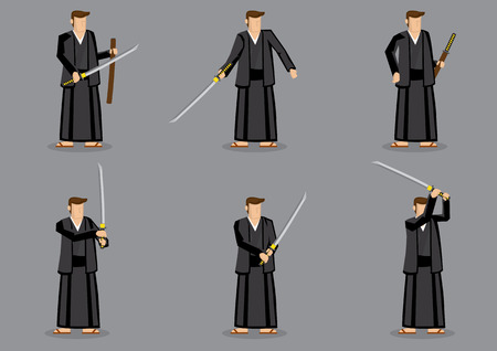 sword fight: Set of six vector illustration of a cartoon man wearing Japanese traditional costume and slipper and holding a samurai sword in hands.