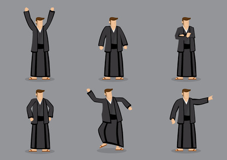 yukata: Set of six vector cartoon illustration of a Japanese man wearing black yukata and slippers in different poses and gestures isolated on grey background. Illustration
