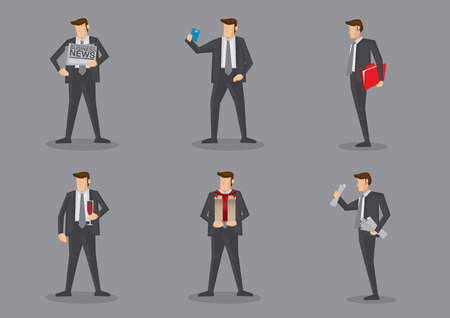 git: Vector cartoon icons of businessman carrying different props isolated on grey background Illustration