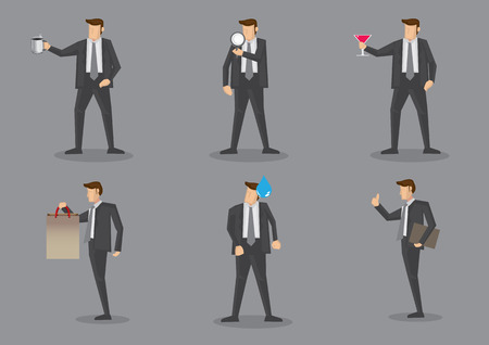 perspiration: Vector illustration of businessman in front view and side profile with different props. Set of six cartoon characters isolated on grey background Illustration