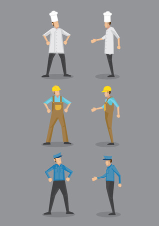 overol: Iconos Vector de dibujos animados de tres ocupaciones, cocinero, trabajador de la construcción y guardia de seguridad en uniforme y sombreros, de pie en frente y perfil de vista.