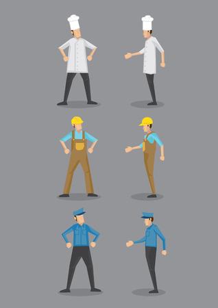 profil: Wektor cartoon ikony trzech zawodów, kucharz, pracownik budowlany i strażnik w mundurze i nakrycia głowy, stojących w widoku z przodu i profilu.