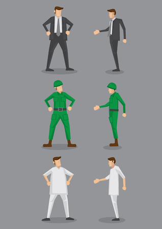 male nurse: Occupation vector icon set for office worker, soldier and nurse in front and side view isolated on grey background