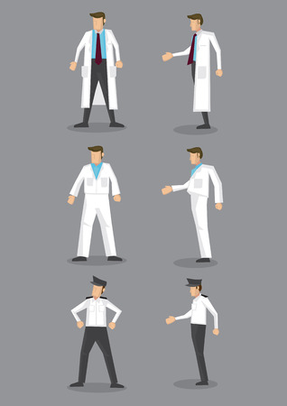 watchman: Occupation vector icon set of man in different white uniform isolated on white background Illustration