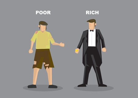 Vector illustration of homeless poor man in torn clothes and successful rich man in tuxedo. Conceptual cartoon characters for contrast in social economic class status isolated on grey background.