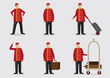 Set of six vector illustration of the character of a doorman or porter wearing red double-breasted uniform in the hospitality industry Illustration