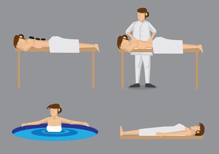 masaje: Conjunto de cuatro ilustración vectorial de señora cuida en exceso por disfrutar de días de tratamiento spa como masajes con piedras calientes, masaje de espalda, de aguas termales y sauna, aislado sobre fondo gris