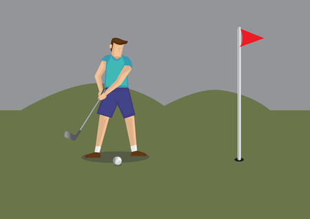 Vector illustration of a golfer holding golf club putting golf ball to a hole in golf course. Illustration