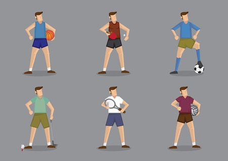 activewear: Set of six cartoon characters wearing different sports attire for the various ball games. Vector illustration isolated on grey plain background