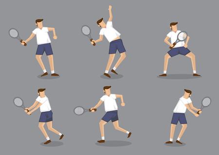 jugando tenis: Conjunto de seis ilustración vectorial de carácter hombre sosteniendo tenis raqueta y golpear diferentes poseen aislados sobre fondo gris