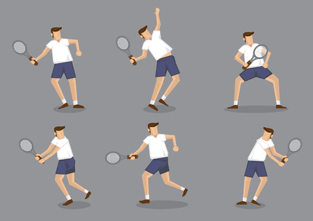 squash: Set of six vector illustration of man character holding tennis racquet and striking different posses isolated on grey background Illustration