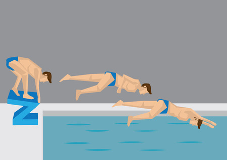 Series of action positions taken by a male swimmer jumping into water in swimming pool. Vector illustration in cartoon style.