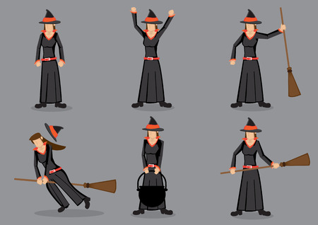 fancy dress party: Set of six cartoon character wearing black robe costume and pointed hat and holding magic broom. Witch for fancy dress party and halloween trick and treat.