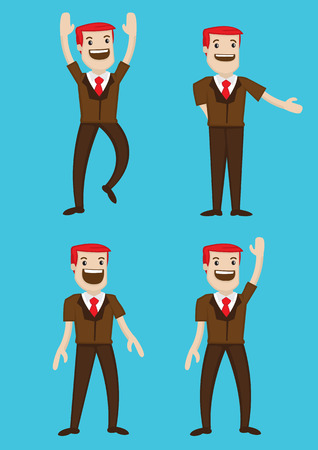 Vector illustration a happy cartoon red hair man in different gestures and poses. Vector
