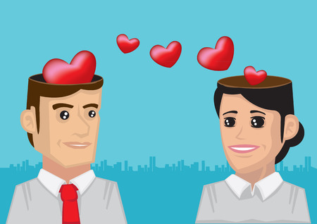Vector illustration of open-minded man and woman falling in love and sending romantic sweethearts brain wave frequency from their heads Illusztráció