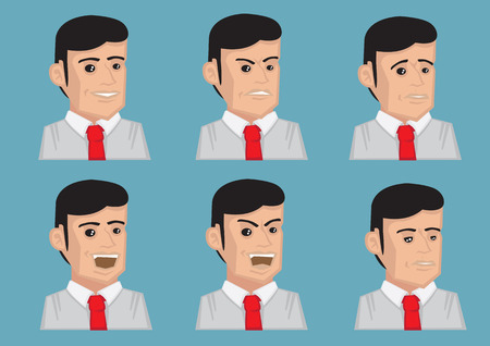 sideburn: Set of six vector illustration of mens facial expressions isolated on blue background. Illustration