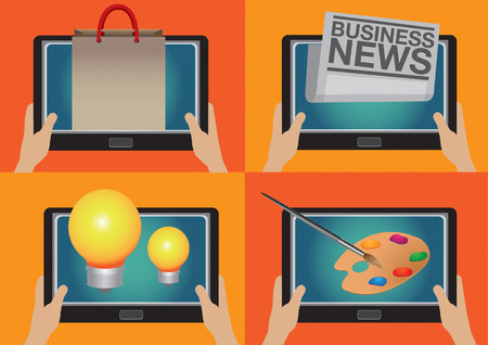business news: Set of four vector illustration of hands holding a digital tablet with computer icons for shopping, business news, creative ideas and artist painting.