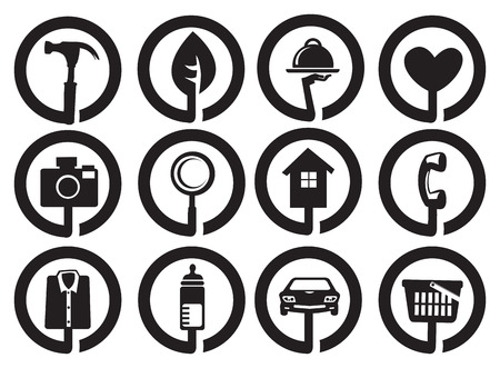 caretaker: Collection of different black and white round vector set for business and services.