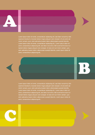 negative graphic: Template for vertical page layout with copy space between three thick colored pencils with negative space as part of graphic design.