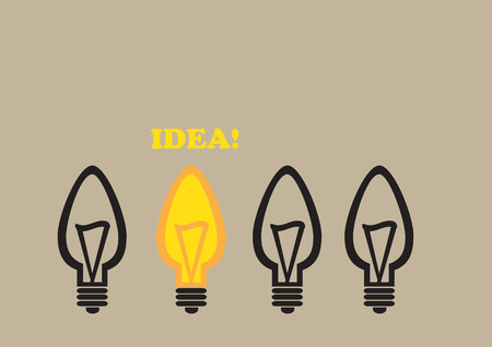 dull: Vector illustration of one lit lightbulb in a group of dull lightbulbs. Simple cartoon for idea concept and being different. Illustration