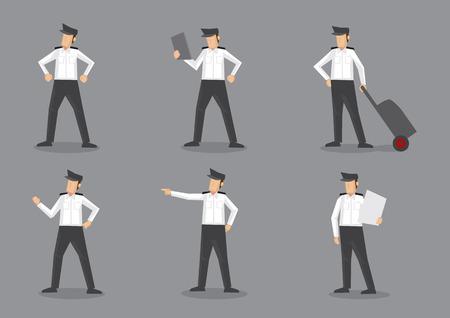 piloto: Conjunto de seis ilustraci�n vectorial de piloto de la aeronave o el capit�n de avi�n en uniforme blanco y negro. Personajes de dibujos animados aislado en el fondo gris.