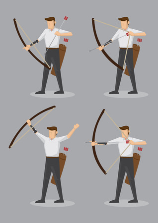 bowstring: Set of six vector illustration of character of an archer with bow and arrows isolated on grey background. Illustration