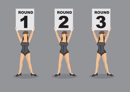 茶髪: グレーの無地の背景に分離されたラウンド数でプラカードを持ってセクシーな黒のコルセットで半裸栗毛リング女の子の六つのベクトル漫画イラストのセット  イラスト・ベクター素材