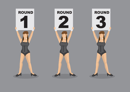 round collar: Set of six vector cartoon illustration of brown hair ring girl scantily clad in sexy black corset holding placard with round numbers isolated on grey plain background Illustration
