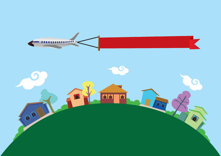 Vector illustration of an airplane carrying a blank banner with copy space flying above earth, represented by green curved landscape, and colorful town with fun houses. Illustration