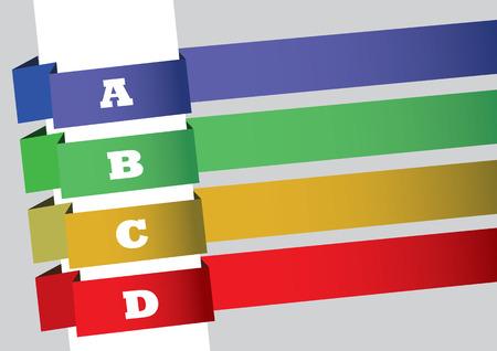 slanted: Dise�o de la disposici�n con cuatro tiras inclinados de banderas de colores numeradas con alfabetos may�sculas y espacio de la copia. Resumen de vectores de fondo para el �ndice secuencial, p�gina de contenido o lista.