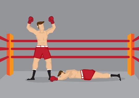 boxeador: Ilustración vectorial de un boxeador de pie en el ring de boxeo con ambas manos levantadas y su oponente tendido en el suelo. Vectores