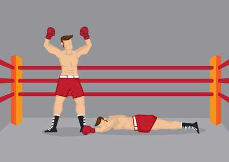 boxing match: Vector illustration of a boxer standing in boxing ring with both hands raised and his opponent lying on the floor. Illustration