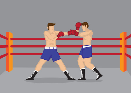 Vector cartoon illustration of two muscular barechested boxers wearing boxing gloves fighting in boxing ring. Stock Illustratie