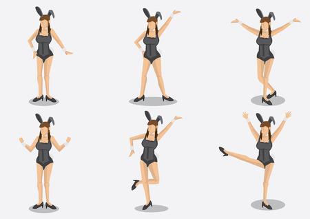 茶髪: 異なる姿勢でバニーの耳とフワフワした綿の尾を持つセクシーなコルセット衣装を着て 6 漫画茶色の髪の女性のセットです。無地の背景に分離されたベクトル文字。  イラスト・ベクター素材