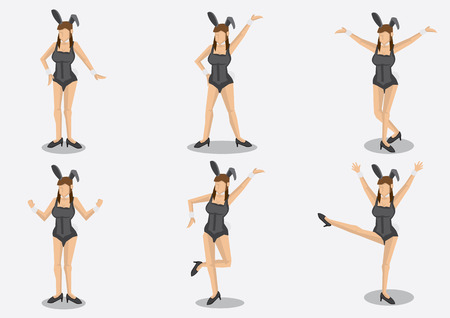 bunny ears: Set of six cartoon brown hair woman wearing sexy corset costume with bunny ears and fluffy cotton tail in different poses. Vector characters isolated on plain background. Illustration