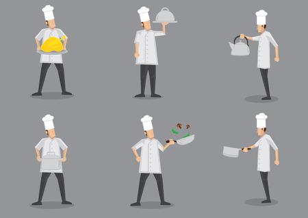 chef caricatura: Frente y perfil de la vista lateral del cocinero con uniforme blanco y el toque con diferentes equipos de cocina. Colección de personajes de dibujos animados de vectores aislados sobre fondo gris.