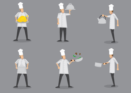 chicken dish: Front and profile side view of chef wearing white uniform and toque with different cooking equipment. Collection of vector cartoon characters isolated on grey background. Illustration