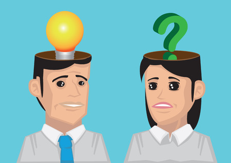 Man with lightbulb in his head and woman with question mark in her head. Conceptual vector illustration for communication breakdown.