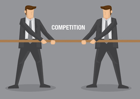 man of war: Two businessmen in tug of war contest with text competition between them. Conceptual vector illustration for business metaphor.