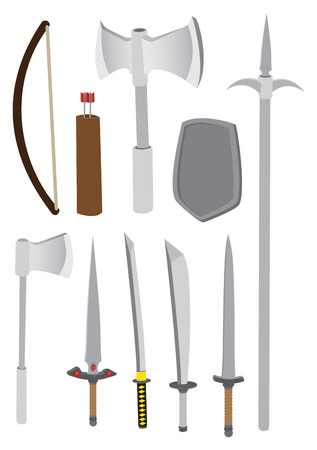 halberd: Vector illustration of different types of medieval combat weapons such as axe, bow, arrows, knife, sword and spear, isolated on white background. Illustration