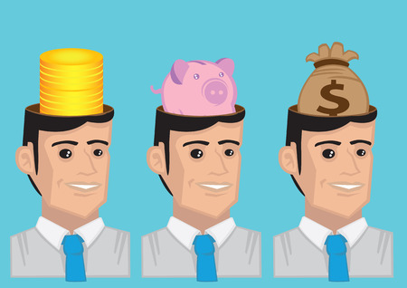 minded: Funny cartoon man wearing necktie and stack of gold coins, piggy bank and bag of money in his head. Vector illustration for metaphor money minded isolated on blue background.